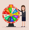 businesswoman with fortune wheel business concept vector image