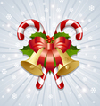 Candy canes and bells decoration vector image vector image