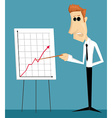 Cartoon office worker making a presentation vector image vector image