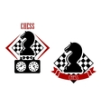 Chess badges with chessboards and figures vector image vector image