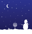 christmas eve with snowman vector image vector image