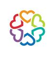 circle love hearts logo vector image