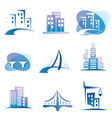 city icons set construction concept vector image vector image
