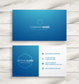 clean simple blue business card vector image vector image