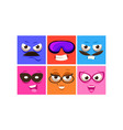 colorful square faces with different emotions set vector image vector image