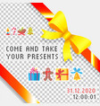 come and take your presents wrap gifts in boxes vector image