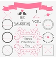 decorative set of artistic valentins day elements vector image
