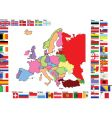 Europe map with flags vector image vector image