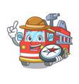 explorer fire truck mascot cartoon vector image