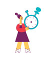 flat woman holding big blue stopwatch vector image