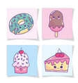 food cute donut ice cream in stick cake and vector image