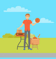 garage sale guy selling sport items countryside vector image vector image