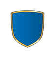 gold-blue shield shape icon bright logo emblem vector image vector image