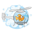 gold fish in helicopter vector image