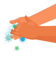 handwashing with microbes on white vector image vector image