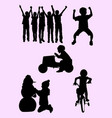happy child playing silhouette vector image