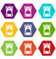 haversack icons set 9 vector image vector image