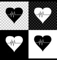 heart rate icon isolated on black white and vector image vector image