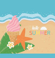 hello summer poster with beach scene and vector image