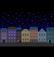 houses at night old european city street with vector image vector image
