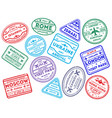 international travel stamps on white vector image vector image