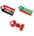 label Made in Angola Bulgaria Canada vector image