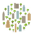 modern buildings and skyscrapers with green trees vector image