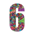 Number 6 with hand drawn abstract doodle pattern vector image vector image