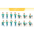 office worker male poses set vector image vector image