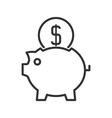 Piggy bank line icon vector image