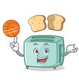 playing basketball toaster character cartoon style vector image vector image