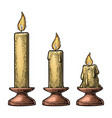 process of candle burning vector image vector image