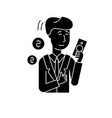rich man black icon sign on isolated vector image vector image