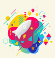 Rocket on abstract colorful spotted background vector image vector image