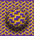 rotating sphere zigzag shapes pattern purple vector image vector image