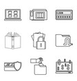 secret document icons set outline style vector image vector image