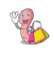 shopping worm character cartoon style vector image vector image