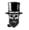 skull with retro hat and smoking pipe design vector image vector image