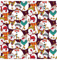 snowmen fashion hipster color seamless pattern vector image vector image