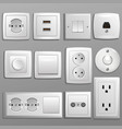 socket and switch electrical outlet for vector image
