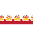 strawberry cake seamless border repeating vector image