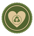 symbol green heart with ecolgy signal vector image