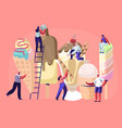 tiny characters on ladders decorate ice cream vector image