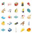 united arab emirates icons set isometric style vector image vector image