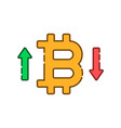 up and down bitcoin course linear icon vector image