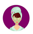 woman in turban towel on head and cucumber mask vector image