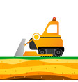 yellow bulldozer on white background mining vector image