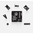 Set of computer components vector image