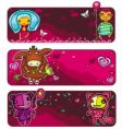 valentines day sunset banners vector image