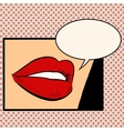 Beautiful red lips girl vector image vector image